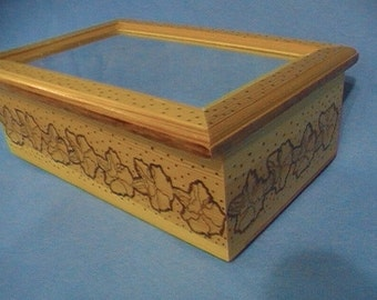 Woodburned box with mirror, floral wood art, woodburned flowers