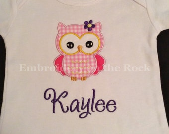 Personalized owl shirt, personalized girl owl onesie, owl girl baby shower, girl owl bodysuit, embroidered, pink owl, girl baby owl