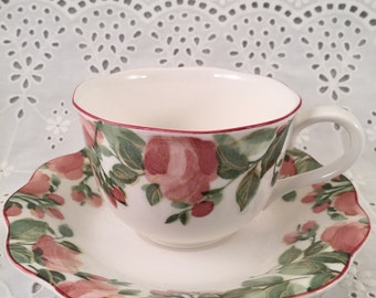 Nikko Cup and Saucer Pink Flowers Green Leaves Precious Collection Japan