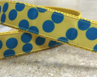 Yellow and Blue Polka Dot 1 inch Collar