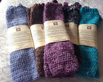 Sky Blue Crochet Leg Warmers