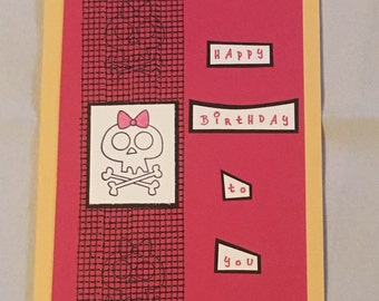 Skull with Pink Bow Birthday Card