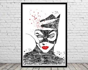 Catwoman inspired, Catwoman Print, Print, Marvel, Superhero,Watercolor Art,Kids Room Decor,Poster, Superhero(1677b)