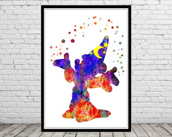 Mickey mouse the wizard, Watercolor print, watercolor Mickey mouse, watercolor print, mouse poster, Kids Room Decor, Poster,print(2102b)