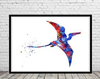Pterosaur, Dinosaur, watercolor print,animal art, Dinosaur,Wall Art, print, watercolor print, art poster, poster print (2412b)