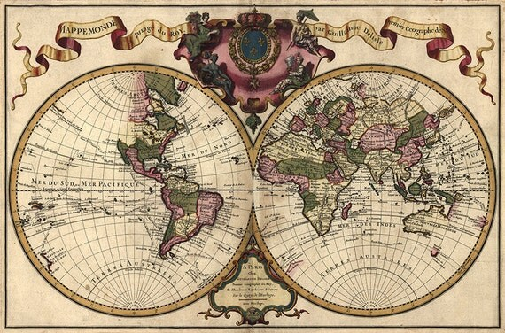Double hemisphere world map of 1742 by lisle guillaume de like this item gumiabroncs Images