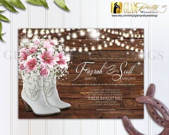 Boots Wedding Invitations: Cowboy Boots Flowers Wedding Invitation & RSVP Card Rustic