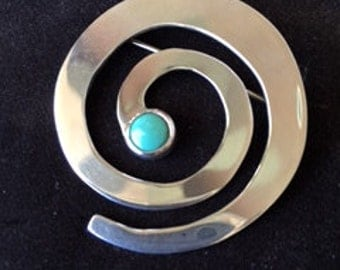Sterling Silver Brooch with Turquoise