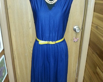 Vintage dress, vintage blue dress, 1970's dress, XL vintage dress.