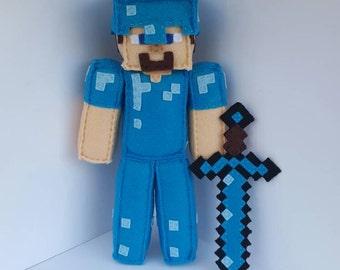 Minecraft Diamond Steve Handmade Felt Stuffed Plush, 3pc Birthday Bundle MTO, minecraft plush, minecraft doll, Birthday Party
