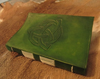 Leather handmade journal with Triquetra tooling
