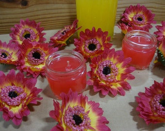 Artificial Flowers. Pink and Yellow Gerbera Daisies, Head Only. 3 inch. Lifelike Flowers, Home Decor. Bag of 25 Pieces