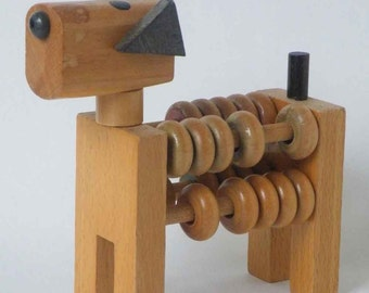 Vintage Wooden Dog Abacus