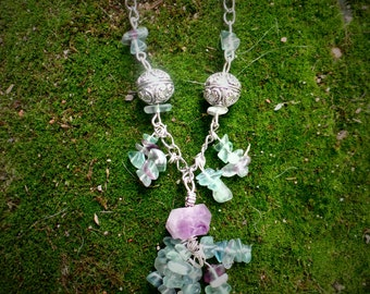Natural Amethyst and Fluorite necklace.