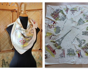 Vintage 50's Paris French novelty silk scarf