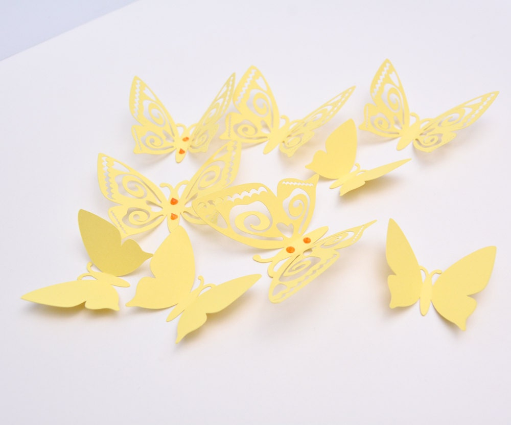 3D Butterfly Wall Decor - Pastel Yellow Paper Butterflies - Wall ...