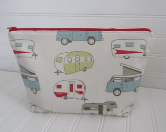 Glamping Large Cosmetic Bag Zippered Pouch Makeup Bag Retro Travel Trailer Toiletry Case