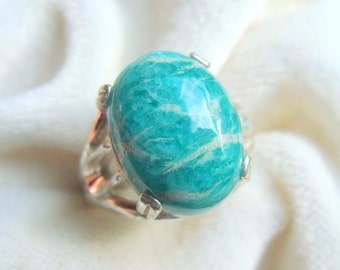 Amazonite Ring in Sterling Silver. Stunning!