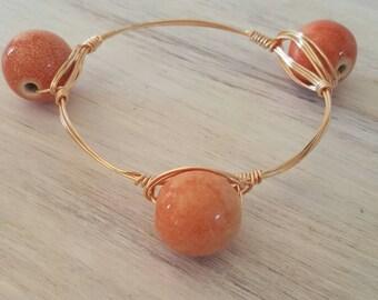 Tangerine Stone Wire Wrapped Bangle, Orange Stone Bangle