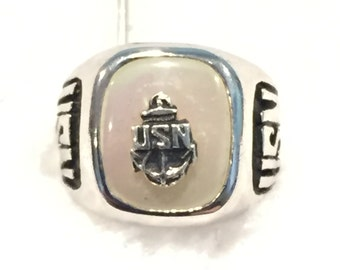 USN (Navy) Ring Charm - Sterling - CA 1980's - Item# 279