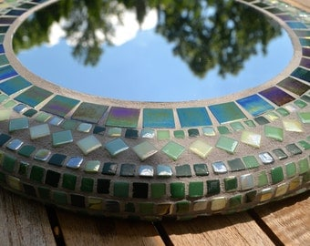 Handmade Mosaic  Mirror, 15 1/2 Inch Round, Shades of Green, Glass Tiles