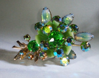 Vintage Green Moonstone Floral Brooch