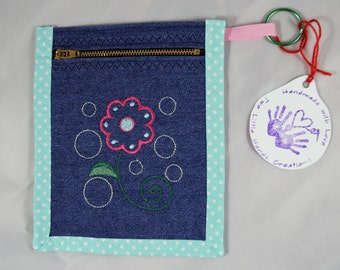 Pink Flower Coin Purse or Pencil. Pen Case. Denim. Embroidered. Free Shipping.