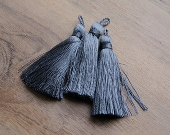 TS0114, tassel, grey tassel, quality tassel, large tassel, jewelry making, jewelry supplier, tassel supplier, dark grey large tassels