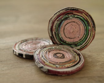 paper beads, recycled paper beads, round beads, pink paper beads, recycled beads, jewelry making, recycled paper beads 45mm