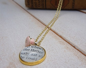 Alice in Wonderland Necklace | Lewis Carroll Book Page Necklace | Teacup Necklace | Book Jewelry | Book Accessory