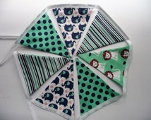 Fabric Bunting Banner in Lion & Elephany Turquoise Pattern. Perfect for a Nursery Bedroom