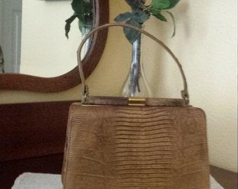 Palizzio Italian Vintage Handbag Brown Reptile from 1960's
