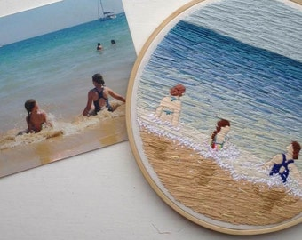 Custom photo embroidery, stitched photograph, unique embroidery hoop art, hand embroidered landscape or portrait