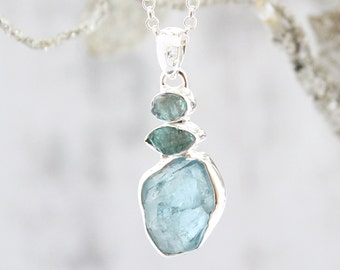 Aquamarine And Apatite Gemstone Silver Pendant