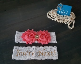 CUSTOM COLOUR Wedding Garter Set You're Next