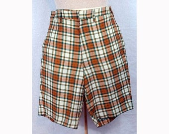 SUMMER SALE! Great pair of vintage shorts from the 50's, Orange & green plaid S