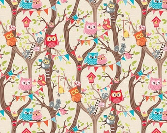 Tree Party Main Cream by Riley Blake Designs - Owls Pink Yellow Branches Bird- Quilting Cotton Fabric - by the yard fat quarter half