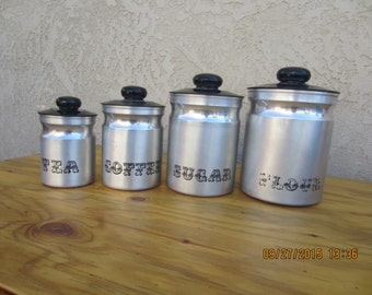 Vintage Aluminum Canisters (4)