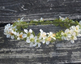 White Fern Flower Crown