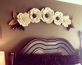 Large paper flowers - giant paper flowers - set of 5 - bedroom decor - nursery - nursery decor - bridal shower - baby shower - paper flowers
