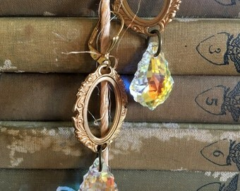 Picture this: vintage assemblage earrings with swarovski crystals, boho repurposed jewelry