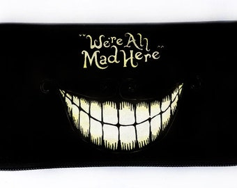 Black Pleather Alice in Wonderland Wallet, Cheshire Cat, Ladies Wallet, Zippered Wallet, Zippered Pouch, Gift for Her, Gift for everyone