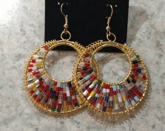 Wire Wrapped Gold tone Beaded Earrings