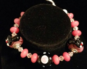 CLEARANCE *Pink Tourmaline and Kitty Lampwork Bracelet, Size 7