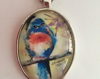 Bluebird of Happiness- Original Art Pendant