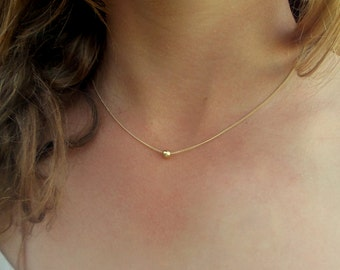 Gold necklace / Tiny one gold ball necklace /gold bead necklace /Delicate, Charm Necklace / Gold Filled, Sterling Silver Chain /Gift For Her