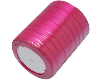 Pink Satin Ribbon 6mm | 5 Rolls - 25 Yards per Roll (125 Yards) | Ribbon Reel | 276-Rib