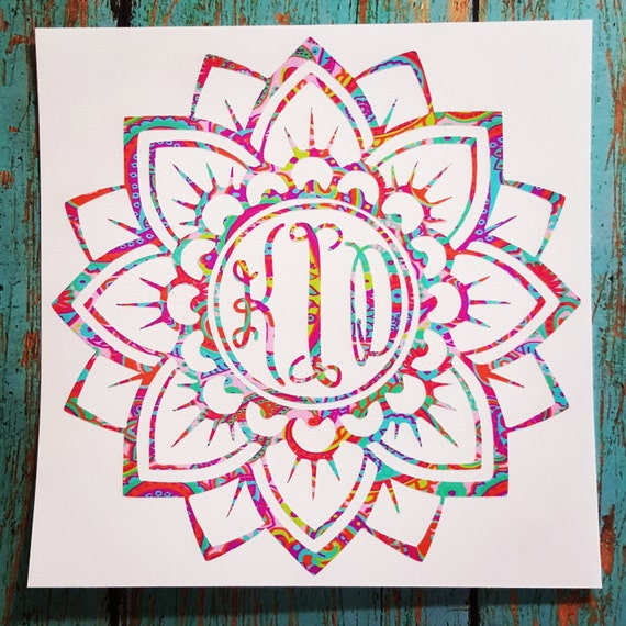 flower mandala monogram decal mandala monogram decal flower