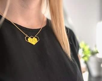 geometric gold Heart Necklace yellow leather