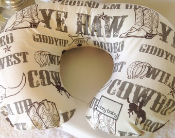 Cowboy Boppy Pillow Covers, Western Nursing Pillow Covers, Cowboy and Cow Print Nursing Pillow Cover, Personalize your Boppy Cover